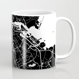 Amsterdam Black on White Street Map Coffee Mug