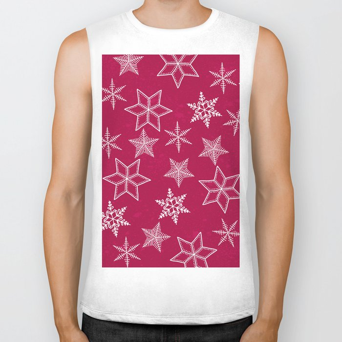 Snowflakes on red background Biker Tank