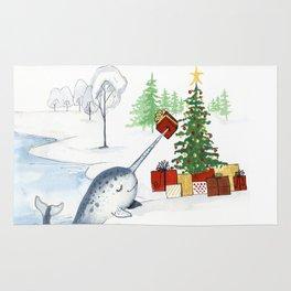 Christmas Narwhal Rug