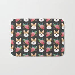 Corgi face floral bouquet cute dog breed gifts for welsh corgi lovers must haves Bath Mat