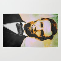 lincoln Area & Throw Rugs featuring Abraham Lincoln by Pedro Nogueira