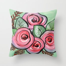 Roses for my Valentine Throw Pillow
