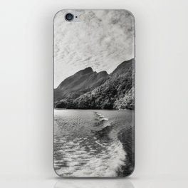 Morning Cruise at Doubtful Sound in black and white iPhone Skin