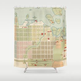 Vintage Map of Oulu Finland (1886) Shower Curtain