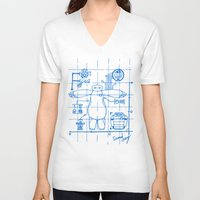 blueprint V-neck T-shirts featuring Baymax Blueprint by SamyyChang