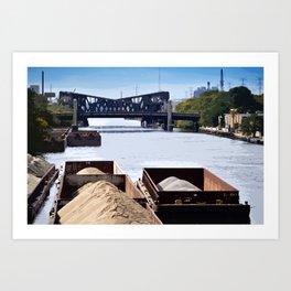 River Barge Chicago Art Print