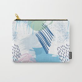 Mid Century Modern Abstract Blue and Blush Pattern V Carry-All Pouch