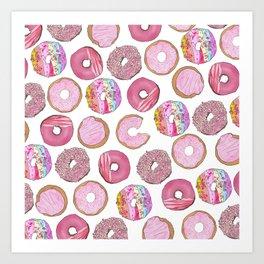 Cute Pink Sprinkle Confetti Watercolor Donuts Art Print