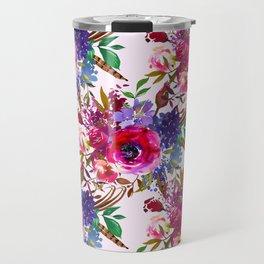 Magenta pink lavender blue watercolor bohemian floral Travel Mug