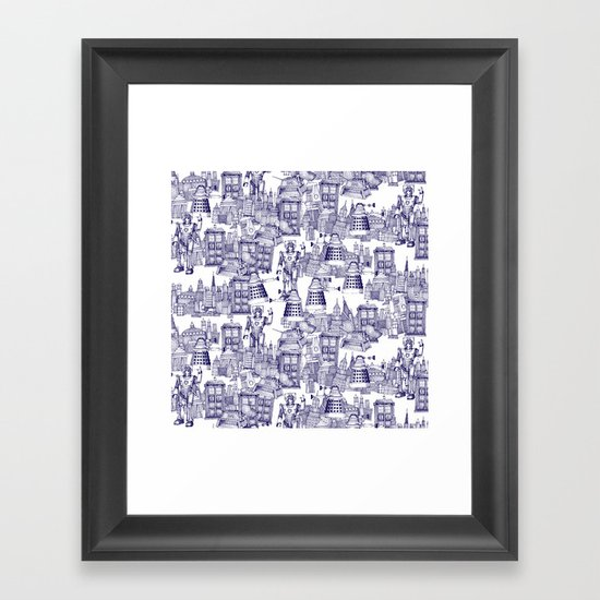 Doctor Who Toile de Jouy | 'Walking Doodle' | Blue Framed Art Print