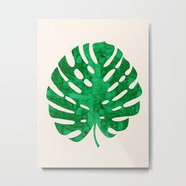 Watercolor tropical leaf on pink background Metal Print