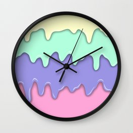 Pastel Ice Cream Melt Wall Clock