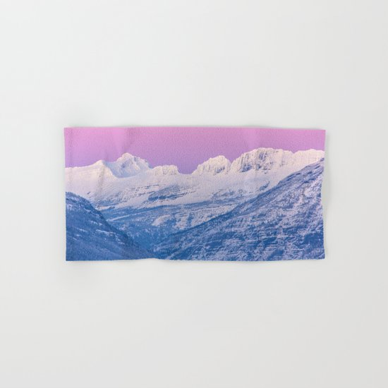 Pink Sunset Mountains Hand & Bath Towel