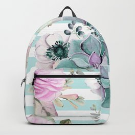 Succulents in the Garden Succulent Blue Stripes Backpack
