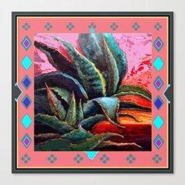 WESTERN PINK CORAL COLOR DESERT  BLUE AGAVE Canvas Print