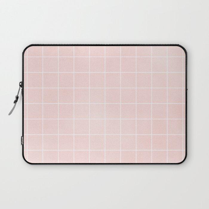 Pink Coral Grid Laptop Sleeve