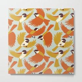 Chickadees in Orange Metal Print