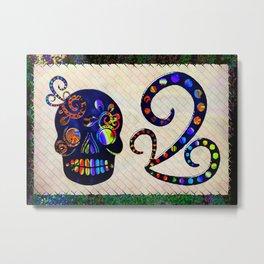 Mexican Sugar Skull Folk Art Metal Print