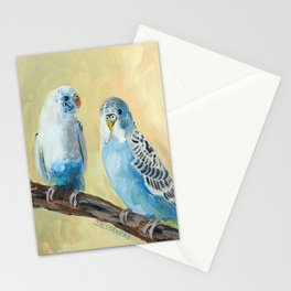 Blue Parakeets Stationery Cards