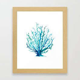 Watercolor Blue + Green Coral Framed Art Print