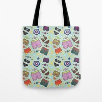 super heroes Tote Bags featuring kinky super heroes by Audrey Molinatti