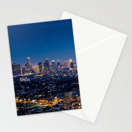Los Angeles, California, I love LA Downtown Skyline, Golden lights, USA Sunset Blvd, Palms, Cali Map Stationery Cards
