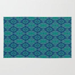 Jade and Blue Repeating Aurora Pattern Rug