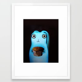 Rabbit loves cakes Framed Art Print