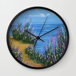 One Path, Ocean Seascape, Modern Impressionism, Beach Art Wall Clock