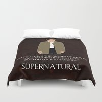 supernatural Duvet Covers featuring Supernatural - Castiel by MacGuffin Designs