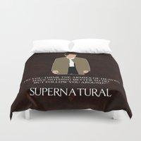castiel Duvet Covers featuring Supernatural - Castiel by MacGuffin Designs