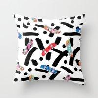 skate Throw Pillows featuring Skate by Lara Gurney