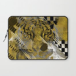 Tiger in gold Abstract Digital art Laptop Sleeve