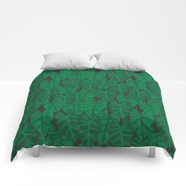 Elephant Ear house plant tropical garden green minimal pattern Comforters