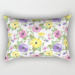 Spring Bouquet Watercolor Rectangular Pillow