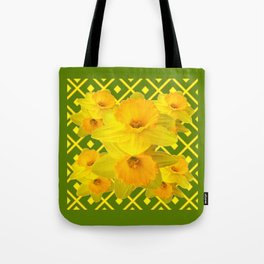 Moss Green Yellow Spring Daffodils Art Tote Bag