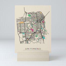 Colorful City Maps: San Francisco, California Mini Art Print