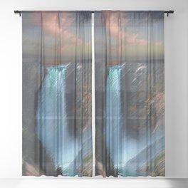 Yosemite Falls Landscape by Jeanpaul Ferro Sheer Curtain