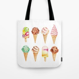 Cool Sweets / Watercolor Ice Cream Tote Bag