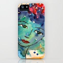 Green watercolor girl iPhone Case