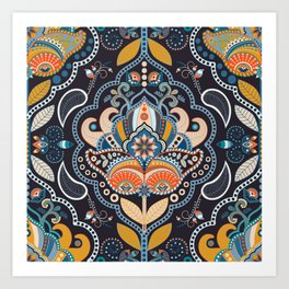 Paisley floral seamless pattern. Dark backdrop with indian decorative elements Art Print