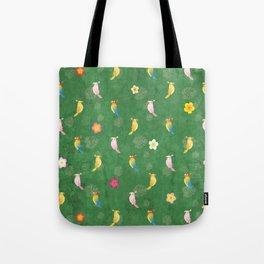 Tiki Birds - Green Pattern Tote Bag