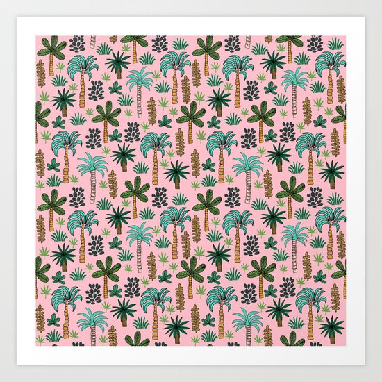 Tropics palm trees pattern print summer tropical vacation design by andrea lauren Art Print