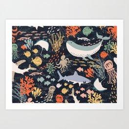 Sea Ocean World Fish Whale Octopus Shark Jellyfish Star Illustration Art Print