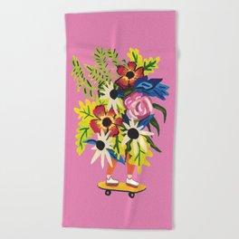 Skate Board Floral Babe Beach Towel