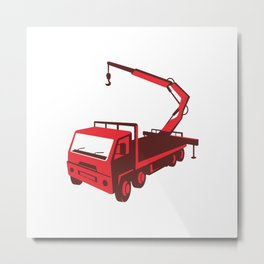 truck mounted crane cartage hoist retro Metal Print