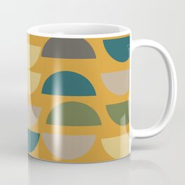 Geometric Graphic Design Shapes Pattern in Mustard Yellow Coffee Mug