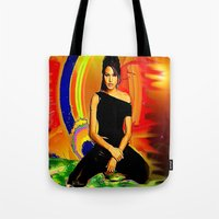angelina jolie Tote Bags featuring Angelina Jolie by JT Digital Art