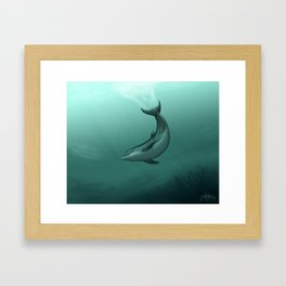 """Siren of the Lagoon"" by Amber Marine ~ Indian River Lagoon Bottlenose Dolphin Art, (Copyright 2015) Framed Art Print"