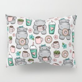 Hippo Friends, Little Hippo, Grey and Pink, Pink and Green, Donuts and Coffee, Cute Hippopotamus Pillow Sham
